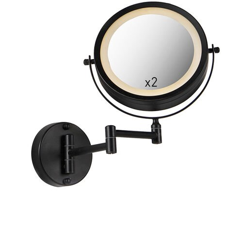 Round makeup wall mirror black on batteries x2 - Vicino