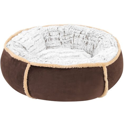 Round Nesting Pet Bed Safe Cozy Plush Cord Jumbo Dog Cuddler Sofa Kennel Cushion Brown 20 inch