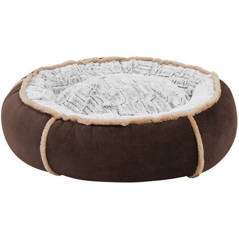 Round Nesting Pet Bed Safe Cozy Plush Cord Jumbo Dog Cuddler Sofa Kennel Cushion Brown 25 inch