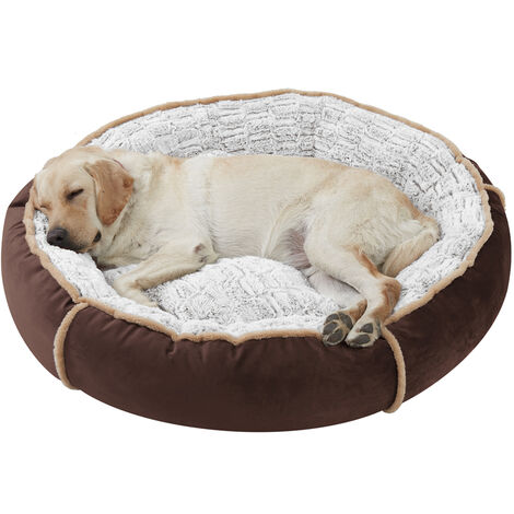 Round Nesting Pet Bed Safe Cozy Plush Cord Jumbo Dog Cuddler Sofa Kennel Cushion Brown 36 inch