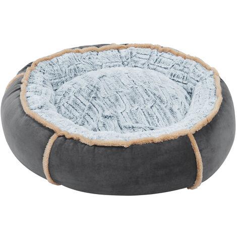 Round Nesting Pet Bed Safe Cozy Plush Cord Jumbo Dog Cuddler Sofa Kennel Cushion Grey 25 inch