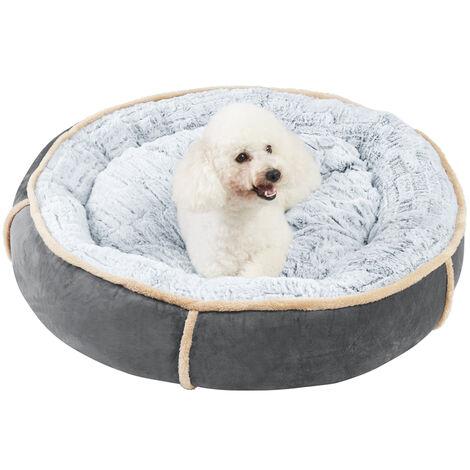 Round Nesting Pet Bed Safe Cozy Plush Cord Jumbo Dog Cuddler Sofa Kennel Cushion Grey 32 inch