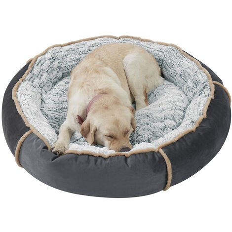 Round Nesting Pet Bed Safe Cozy Plush Cord Jumbo Dog Cuddler Sofa Kennel Cushion Grey 36 inch