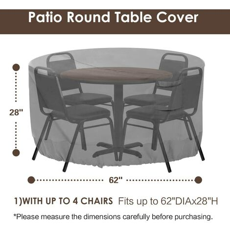 Round patio furniture cover, 100% waterproof outdoor table and chair cover, outdoor furniture cover, fade-resistant cover, UV protection, 62 inches DIAx28 H, beige and brown