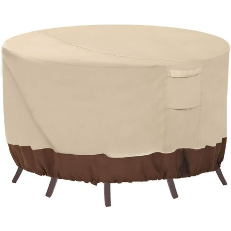 Round patio furniture cover, 100% waterproof outdoor table and chair cover, outdoor furniture cover, fade-resistant cover, UV protection, 62 inches DIAx28 H, beige and brown a