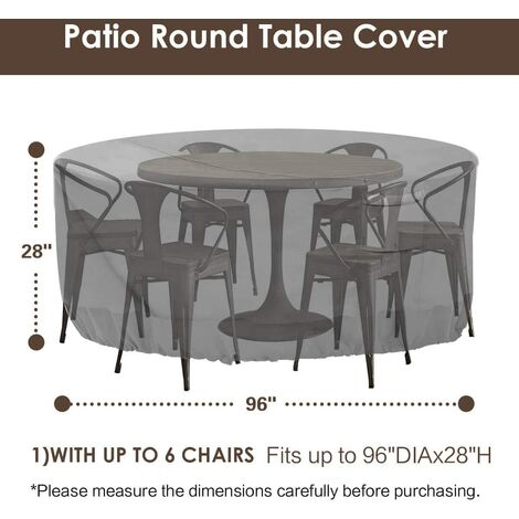 Round patio furniture cover, 100% waterproof outdoor table and chair cover, outdoor furniture cover, fade-resistant cover, UV protection, 62 inches DIAx28 H, beige and brown e