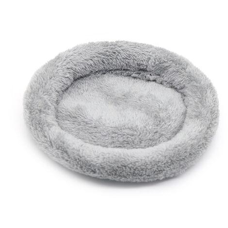 Round Peluche Douce Pour Animal De Compagnie Cat Pet Nest Bed Hamster Lit Douillet Maison Pour Chats Lapin Hamster Herisson Petits Chiens, Gris, L