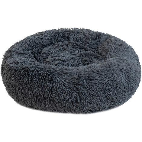 Round Plush Cat Bed Dog Warm Soft Comfortable Kennel,Dark gray,L