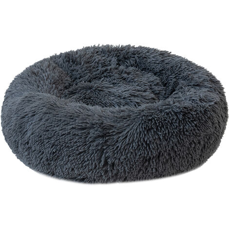 Round Plush Cat Bed Dog Warm Soft Comfortable Kennel,Dark gray,M