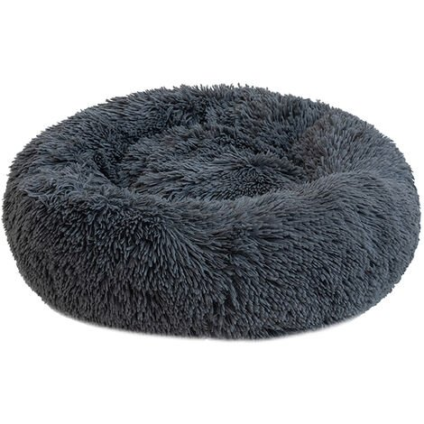 Round Plush Cat Bed Dog Warm Soft Comfortable Kennel,Dark gray,XL