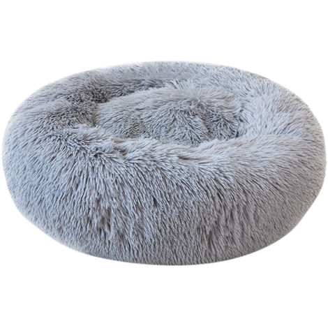Round Plush Cat Bed Dog Warm Soft Comfortable Kennel,Grey,S