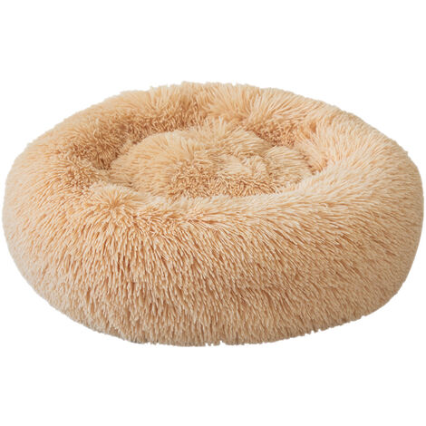 Round Plush Cat Bed Dog Warm Soft Comfortable Kennel,Light Brown,L