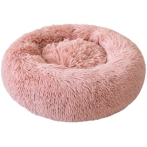 Round Plush Cat Bed Dog Warm Soft Comfortable Kennel,Pink,M