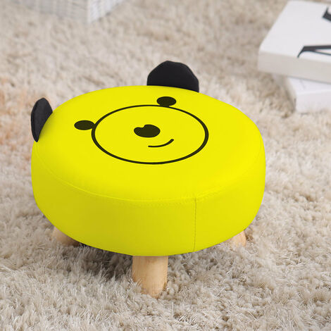 Round PU Leather Footstool Living Bedroom Foot Rest Padded Kids Seat Sofa Stools Yellow