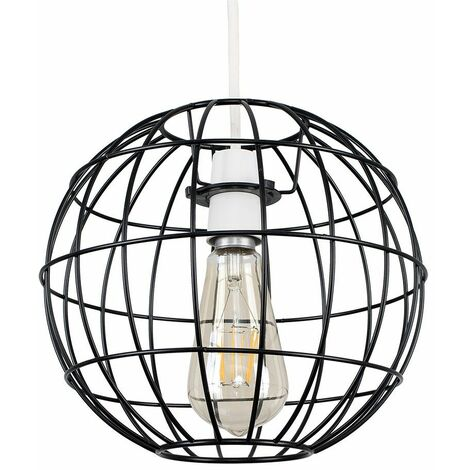 Round Satin Black Geometric Ceiling Pendant Light Shade + LED Bulb