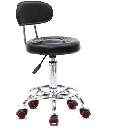 Round Shape Adjustable Salon Stool with Back and Line Black QWGT925BK