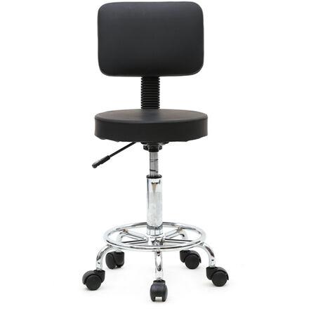 Round Shape Adjustable Salon Stool with Back Black QWGT1809BK