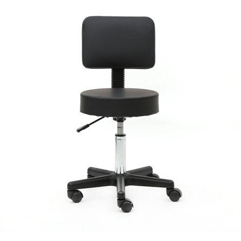Round Shape Plastic Adjustable Salon Stool with Back Black