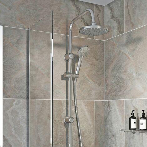 "main image of ""Round Shower Riser Kit Chrome Dual Shower Heads Adjustable Overhead Bathroom"""