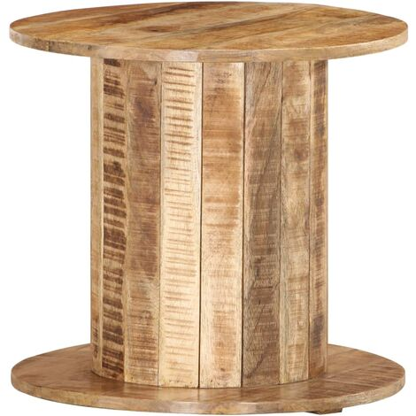 Round Side Table 50x50x46 cm Solid Rough Mango Wood - Brown