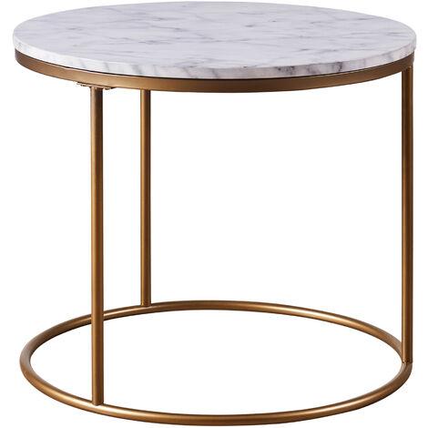 Round Side Table Modern Design Faux Marble Brass Marmo Versanora VNF-00076