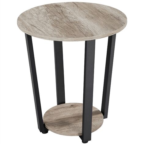 """main image of """"Round Side Table with 2 Storage Shelf for Living Room"""""""