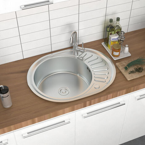 Round Single Bowl Catering Stainless Steel Kitchen Sink Drainer Waste Kits
