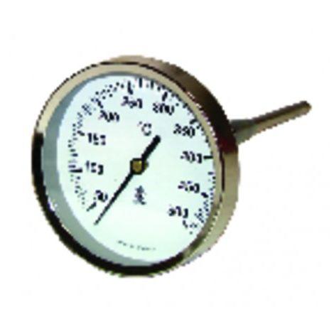 Round smoke thermometer 50 to 500°c ø80mm probe 15