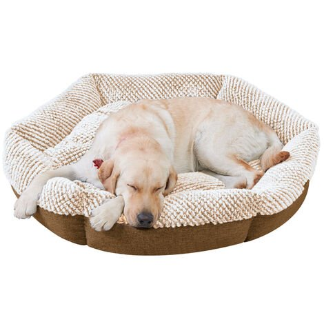 Round Soft Cuddler Pet Dog Bed Joint-Relief Sleeping Support Bolsters Cushion, Extra Large Brown