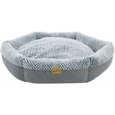 Round Soft Cuddler Pet Dog Bed Joint-Relief Sleeping Support Bolsters Cushion, Extra Large Grey