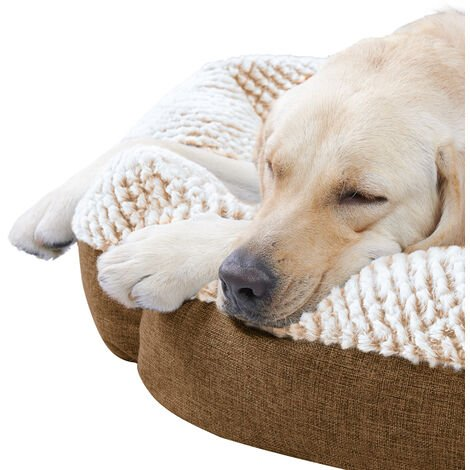 Round Soft Cuddler Pet Dog Bed Joint-Relief Sleeping Support Bolsters Cushion, Large Brown