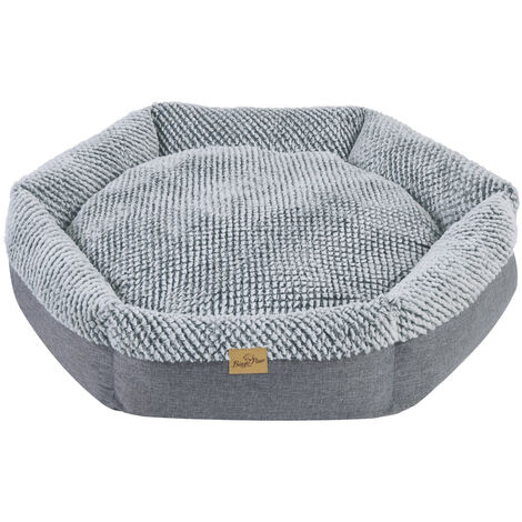 Round Soft Cuddler Pet Dog Bed Joint-Relief Sleeping Support Bolsters Cushion, Large Grey