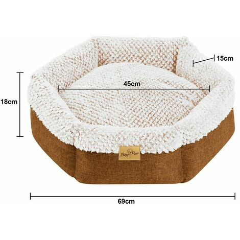Round Soft Cuddler Pet Dog Bed Joint-Relief Sleeping Support Bolsters Cushion, Medium Brown