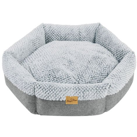 Round Soft Cuddler Pet Dog Bed Joint-Relief Sleeping Support Bolsters Cushion, Medium Grey