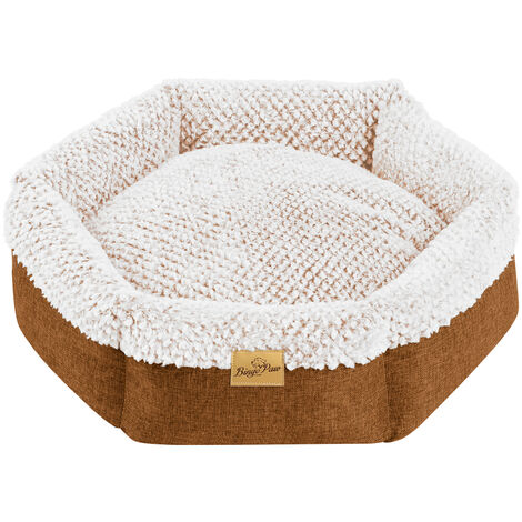 Round Soft Cuddler Pet Dog Bed Joint-Relief Sleeping Support Bolsters Cushion, Small Brown