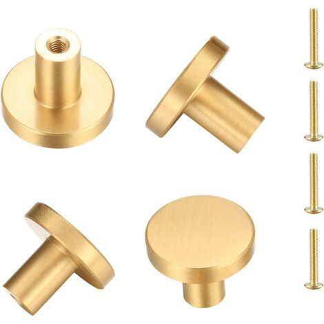 """main image of """"Round solid brass door handle, furniture handle, handle drawer drawer cupboard cupboard cupboards kitchen, singlestru Doree handle - 4 pieces (25 x 20 mm)"""""""
