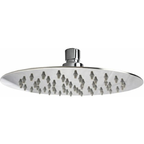 Round Square Slim Overhead Swivel Rain Shower Head + Solid Brass Ceiling Wall Mounted Arm