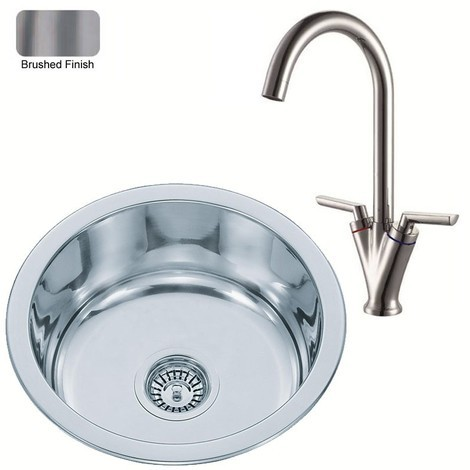 Round Stainless Steel Inset Kitchen Sink & Mixer Tap Brushed Finish (KST010 bs)