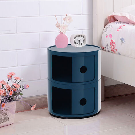 Round Storage Unit Bathroom Cabinet Chest Cupboard Side Table Vintage Postbox Royal Blue