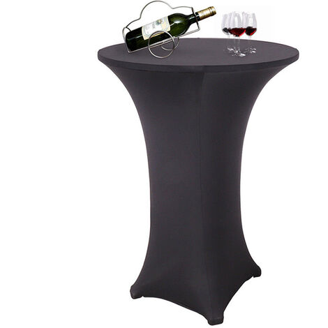 Round Stretch Cocktail Table Cover Poseur Dry Bar Spandex Cloth Wedding Party,60cm Black