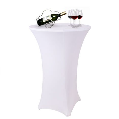 Round Stretch Cocktail Table Cover Poseur Dry Bar Spandex Cloth Wedding Party,60cm White