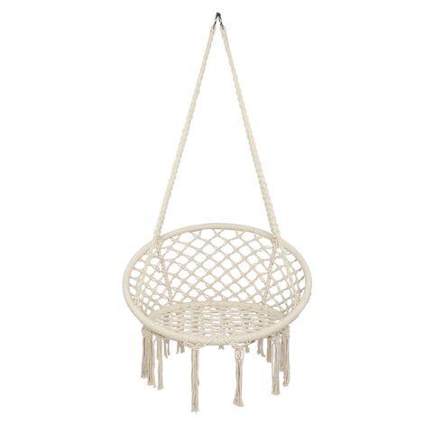 "main image of ""Round swing hanging chair outdoor cotton rope tassel macrame hammock swing seat garden courtyard seaside Beige - Beige"""