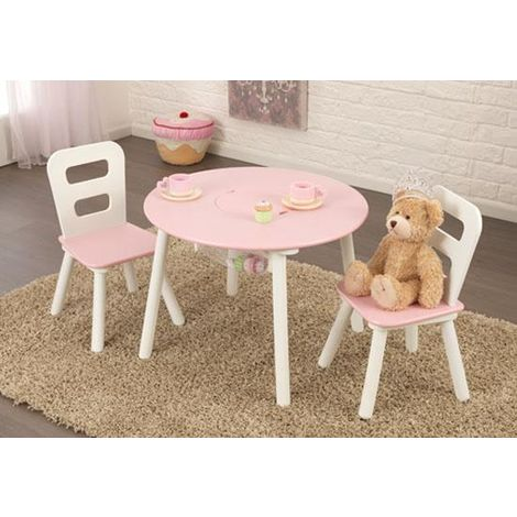 Round Table and 2-Chair Set - Pink