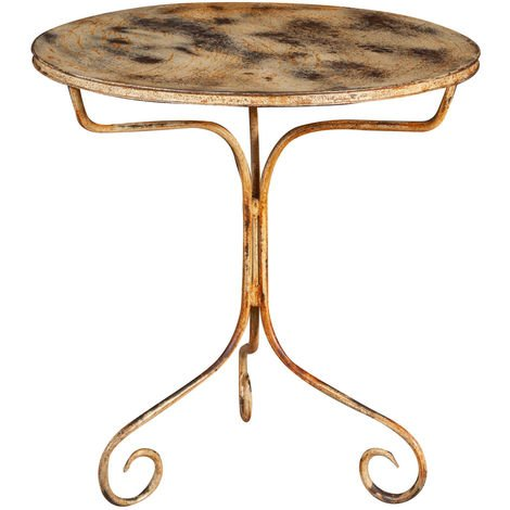 ROUND TABLE IN WROUGHT IRON ANTIQUE CREAM FINISH