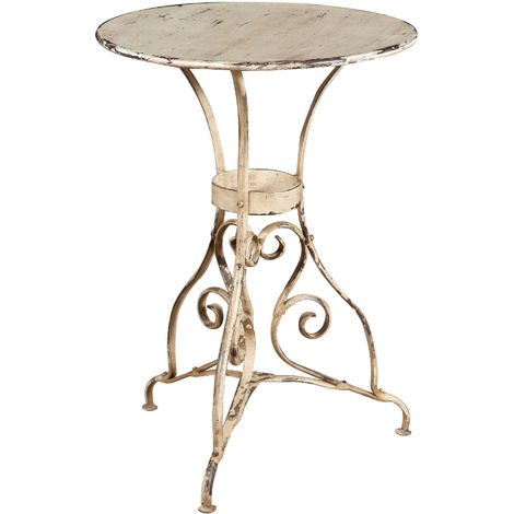 ROUND TABLE IN WROUGHT IRON ANTIQUE WHITE FINISH