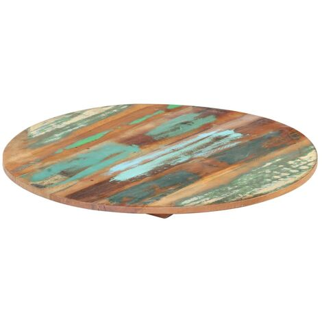 Round Table Top 40 cm 15-16 mm Solid Reclaimed Wood - Multicolour