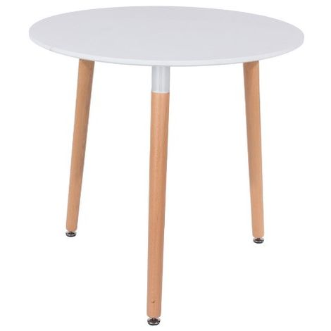 Round Table, White Mdf With Beech Legs