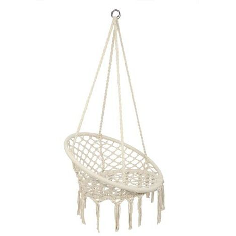 Round Tassel Hanging Chair - Garden Swing Seat, Hanging Egg Chair, Garden Swing Chair Beige