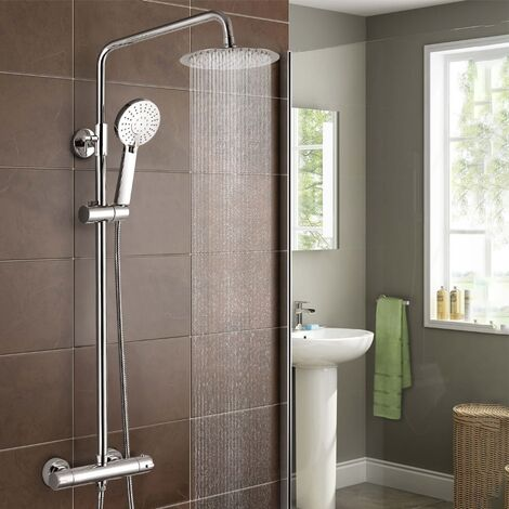 Round Thermostatic Exposed Twin Head Mixer Shower Set