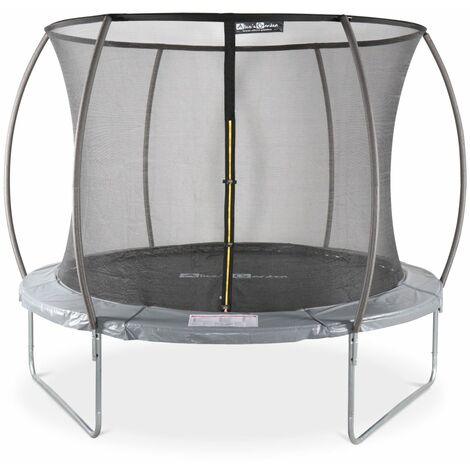 Round trampoline - 10 ft Grey with internal safety net - Mars Inner - New Design - Garden trampoline with curved tubes 3.05 m